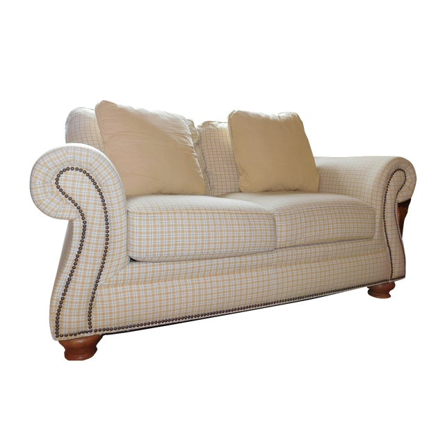 Traditional Yellow Loveseat - Image 1 of 4