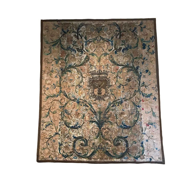Needlework Tapestry With Intricate Shield and Floral Designs For Sale