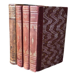 Swedish Leather Books - Set of 4 For Sale