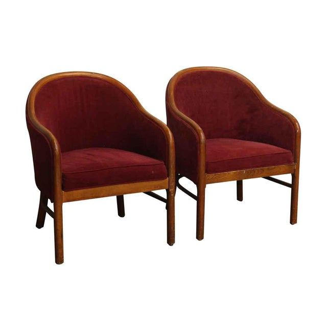 Shelby Williams Industries Red Upholstered Chairs - A Pair - Image 2 of 7
