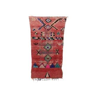 1970s Vintage Moroccan Boujad Rug - 3′8″ × 6′11″ For Sale