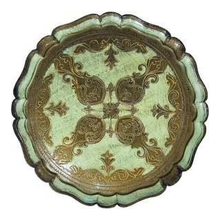 Vintage Italian Florentine Large Round Tray Celadon For Sale