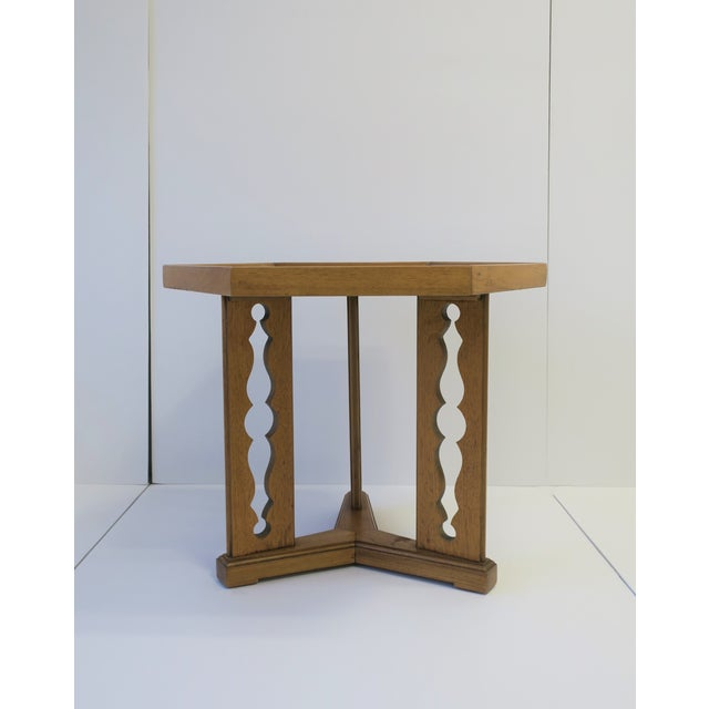 Hexagon Wood Side or End Table Esperanto by Drexel For Sale - Image 10 of 13