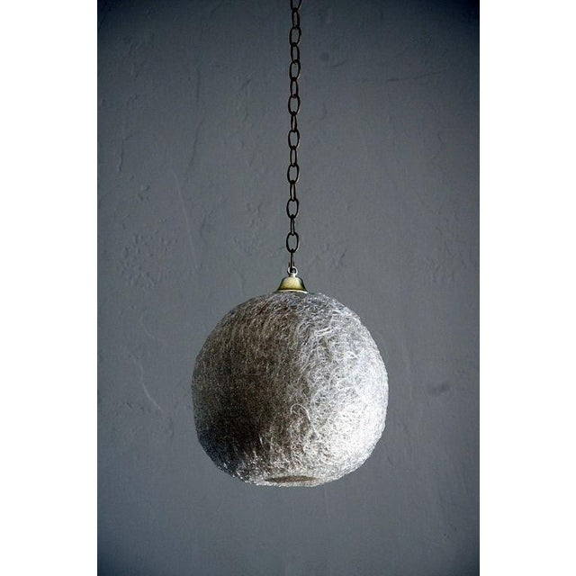 White Pair of White Glass Thread Globe Hanging Lights For Sale - Image 8 of 8
