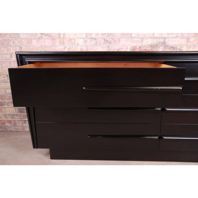 Edmond Spence Swedish Modern Ebonized Birch Dresser or Credenza, Newly Refinished For Sale - Image 11 of 13