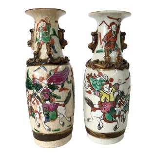 19th Century Chinese Warrior Crackleware Vases - a Pair