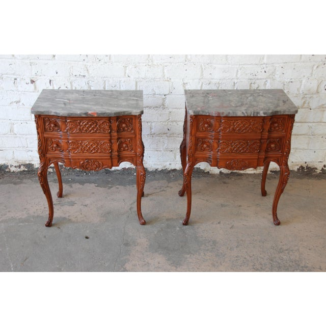 1920s Carved Louis XV Style Marble Top Nightstands - A Pair For Sale - Image 5 of 10