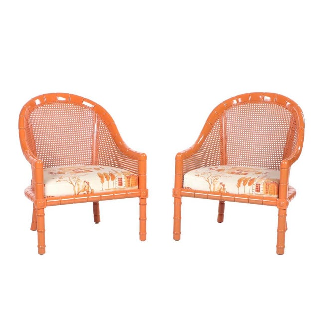 Wood Vintage Mid Century Orange Lacquered Vintage Cane Bamboo Lounge Chairs- A Pair For Sale - Image 7 of 7