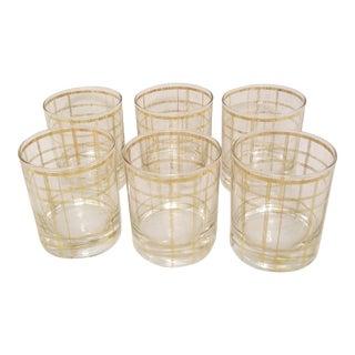 Vintage Mid-Century Modern Gold Plaid Trimmed Cocktail Glasses - Set of 6 For Sale