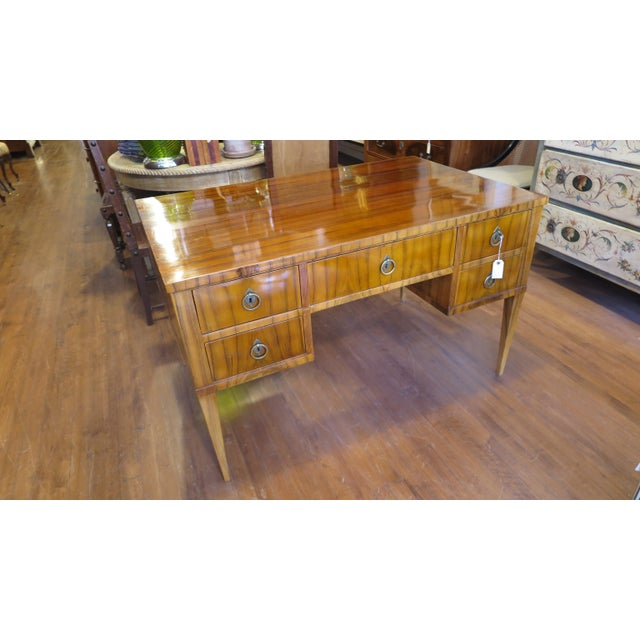 1960s Midcentury Tiger Wood Desk For Sale - Image 5 of 13