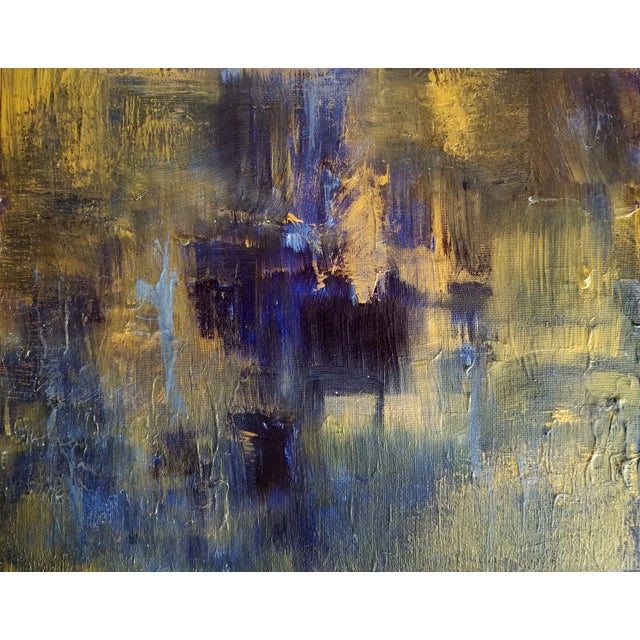 Original Abstract Modern Art Painting, Indigo Blue Gold on Metallic Canvas For Sale - Image 5 of 5