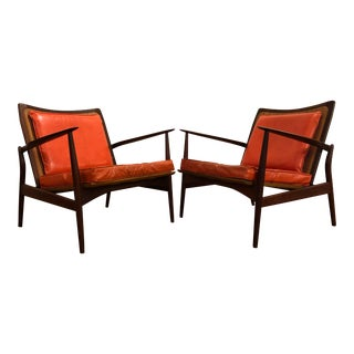 Ib Kofod Larsen Mid Century Spear Chairs With Cane Backs, Made in Denmark For Sale