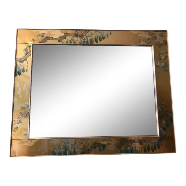 1980s Contemporary Mirror With Floral Edge For Sale