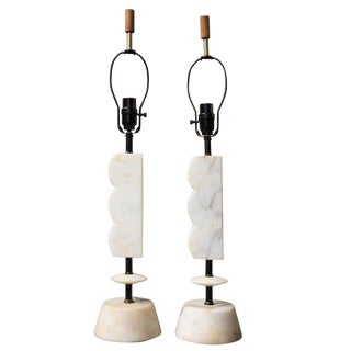 Pair of Italian Modern Marble Table Lamps