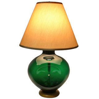 Blenko Pinch Form Emerald Green Table Lamp For Sale