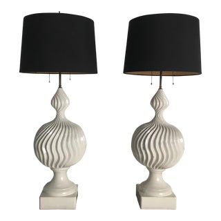 Monumental Ceramic Double Gourd Lamps with Shades - a Pair For Sale