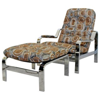 Mid Century Modern Baughman Chrome Steel Reclining Lounge Chair Ottoman Italian