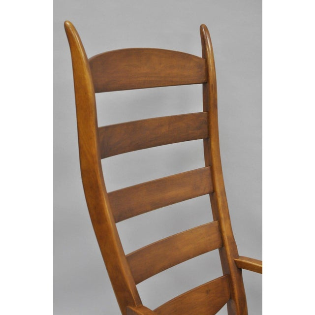 Mid-Century Tell City Maple Sculptural Ladder Back Rocking Chair For Sale - Image 4 of 11