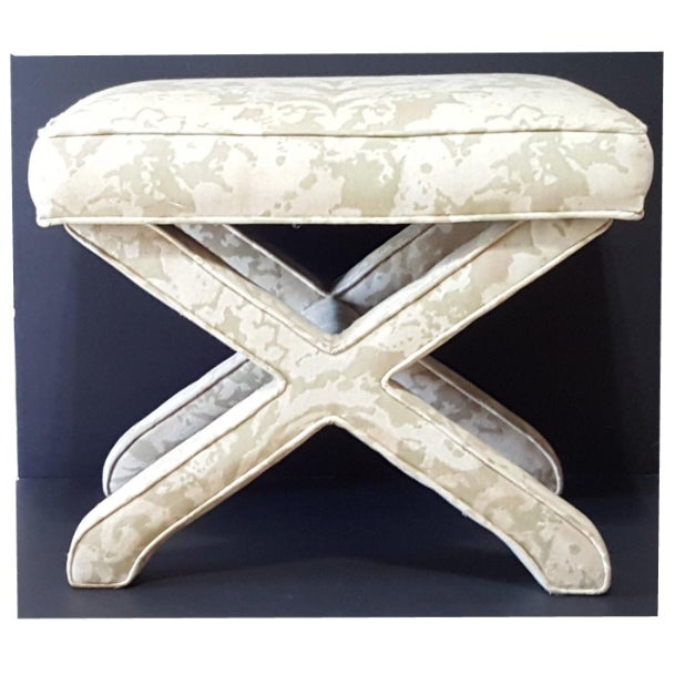 1950s Vintage Milo Baughman Style Bench X Upholstered Hollywood Regency Stool For Sale - Image 9 of 9