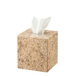 Tan Marble Tissue Box Holder