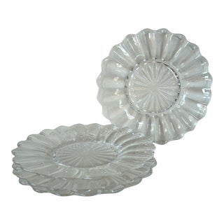 1940s Modern Transparent Glass Heisey Luncheon Plates - Set of 4 For Sale