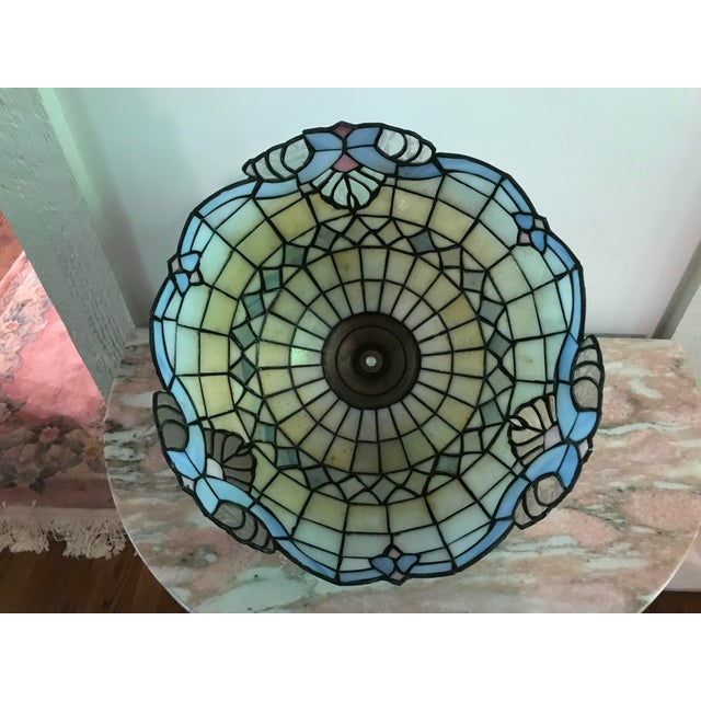 Tiffany Style Vintage Stained Glass Lamp Shade, Brushed Gold Base,Victorian Boudoir, Reduced Final For Sale - Image 4 of 12
