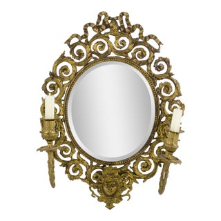French Bronze Mirror Two Candle Sconce For Sale