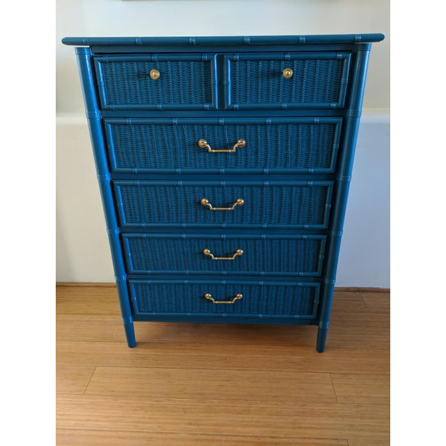 Blue 1970s Dixie Faux Bamboo Highboy For Sale - Image 8 of 8