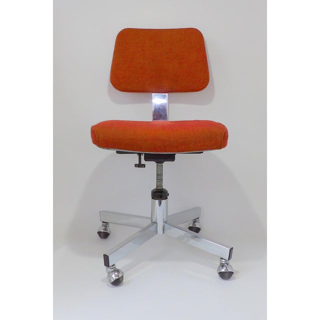 Mid Century Modern Interroyal Orange Wool Office Chair For Sale - Image 13 of 13