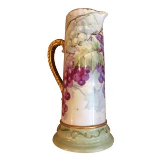 Limoges Pitcher With Grape Motif For Sale