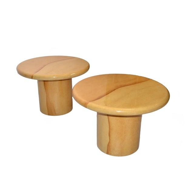 Karl Springer Karl Springer Style Lacquered Goatskin Top Side Tables Mid-Century Modern - Pair For Sale - Image 4 of 13