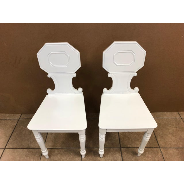 Mid 19th Century Pair of 19th Century English White Lacquered Hall Chairs For Sale - Image 5 of 9