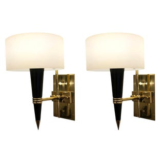 Mid-Century Sconces With Round Glass Shades - a Pair For Sale
