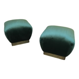 1970s Vintage Marge Carson Dark Green Velvet Ottomans- A Pair For Sale