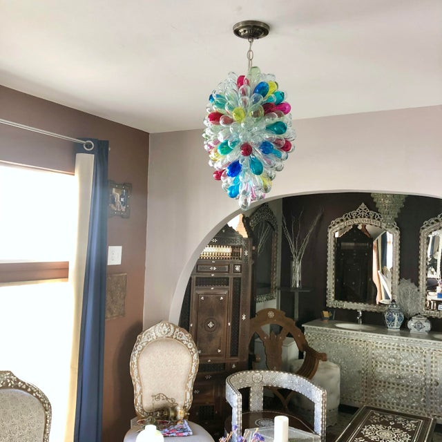 Recycled Handblown Glass Candy Colors Light Fixture For Sale In Los Angeles - Image 6 of 12