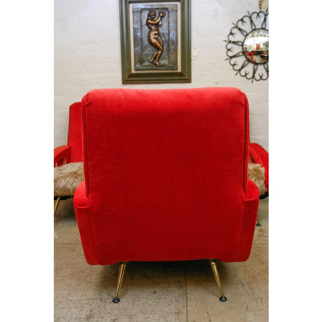 Pair of An exuberant Midcentury by Maurice Mourra, reminiscent of the jet age Jetsons style. Newly recovered in red velvet...