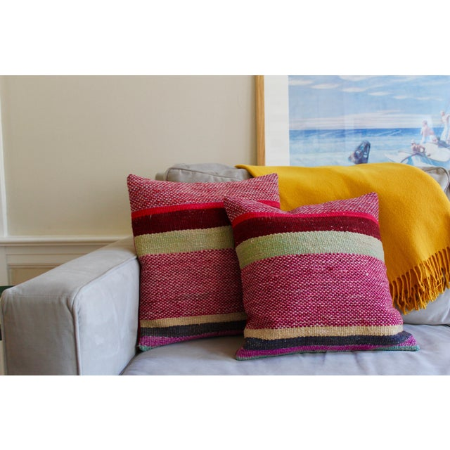 """Boho Chic Set of 2 17"""" Peruvian Red Tone Wool Frazada Pillows For Sale - Image 3 of 4"""