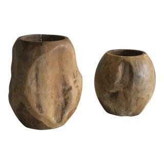 Organic Modern Teak Vases - a Pair For Sale