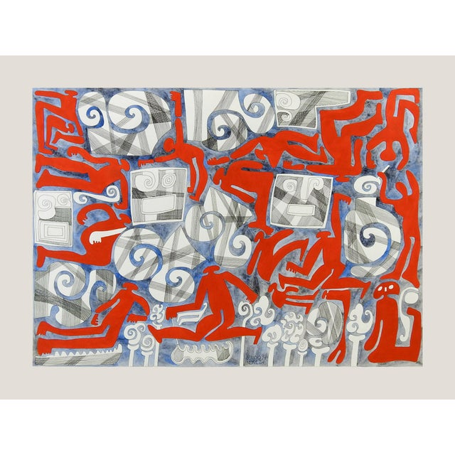 Abstract Abstract Wind & Red Figures Painting by Benicio Nunez For Sale - Image 3 of 5