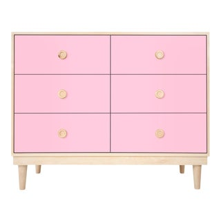 Lukka Modern Kids 6-Drawer Dresser in Maple With Pink Finish For Sale