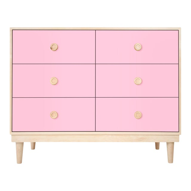 Lukka Modern Kids 6-Drawer Dresser in Maple With Pink Finish For Sale