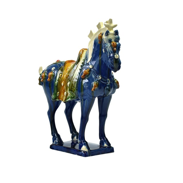 Asian Traditional Chinese Blue Terra Cotta Pottery Horse For Sale - Image 3 of 11