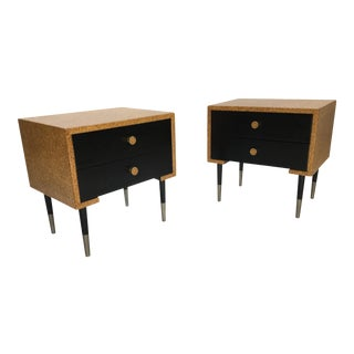 Pair of Paul Frankl Cork Clad Nightstands by Johnson Furniture Company For Sale