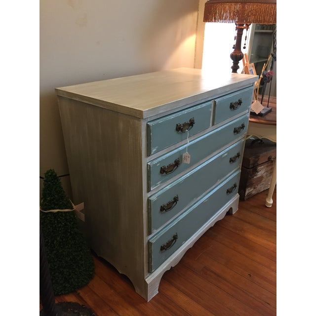 Gray & Teal Distressed Dresser - Image 3 of 5