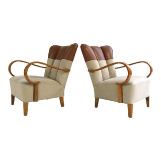 1970s Italian Bentwood Armchairs Restored in Loro Piana Leather and Linen For Sale