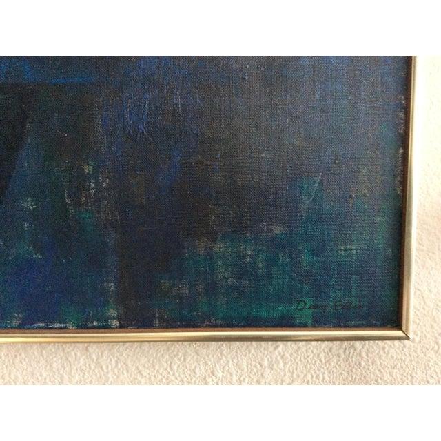"Mid-Century Modern Mid Century Modern ''New York Skyline"" Oil on Canvas by Dean Ellis For Sale - Image 3 of 8"