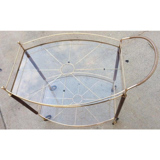 Mid-Century Brass & Glass Bar Cart - Image 4 of 11