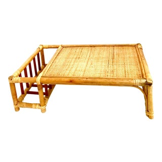 Mid-20th Century Rattan & Wicker Bed Tray & Magazine Holder For Sale