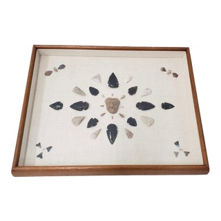 Mounted and Framed Arrowhead Collection For Sale