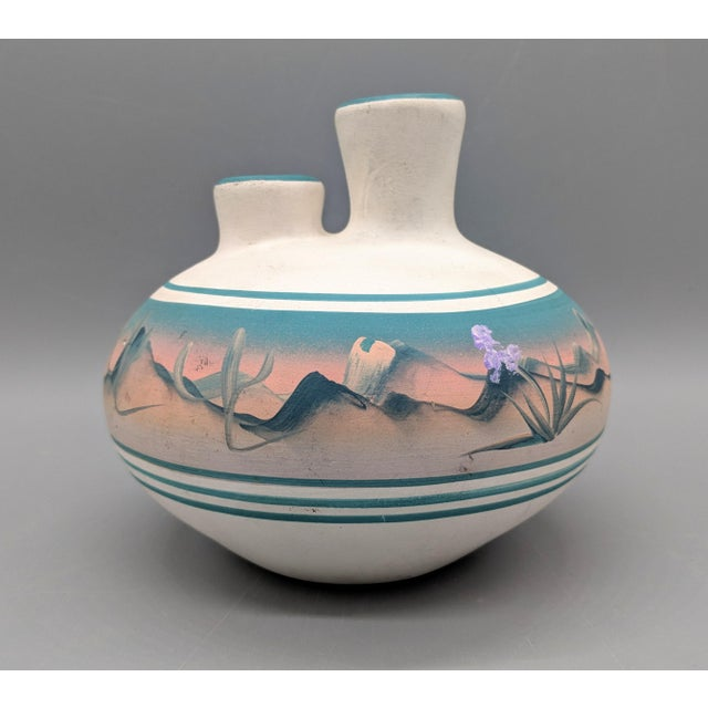 1969 Native American New West Hand Painted Pink and Blue Pottery Vase For Sale - Image 4 of 8